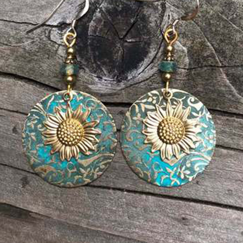 Sunflower Exquisite Pattern Earrings