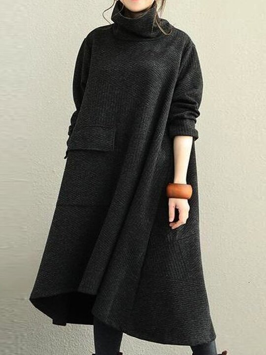 High Neck Autumn and Winter Knitted Dress