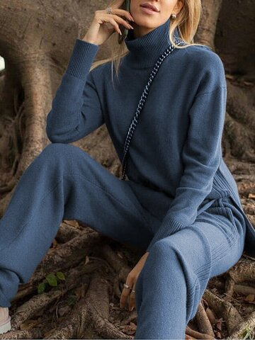 Loose Casual Turtleneck Long Sleeve Pullover Wide Leg Pants Knitted Suit
