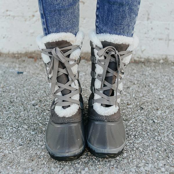 Faddishshoes Lace-up Warm Fur Snow Boots