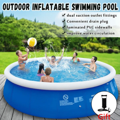 Large Inflatable Swimming Pool - Family Above Ground Paddling Pool(Get a single electric pump for free)