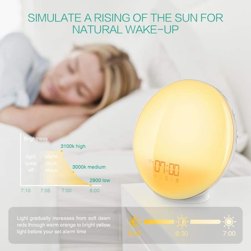Wake Up Light, Sunrise Alarm Clock, 7 Colors Mood Atmosphere Lamp, Beside Night Light, Digital Clock with FM Radio, 7 Natural Sounds, Dual Alarms, Sunrise/Sunset Simulation for Bedroom
