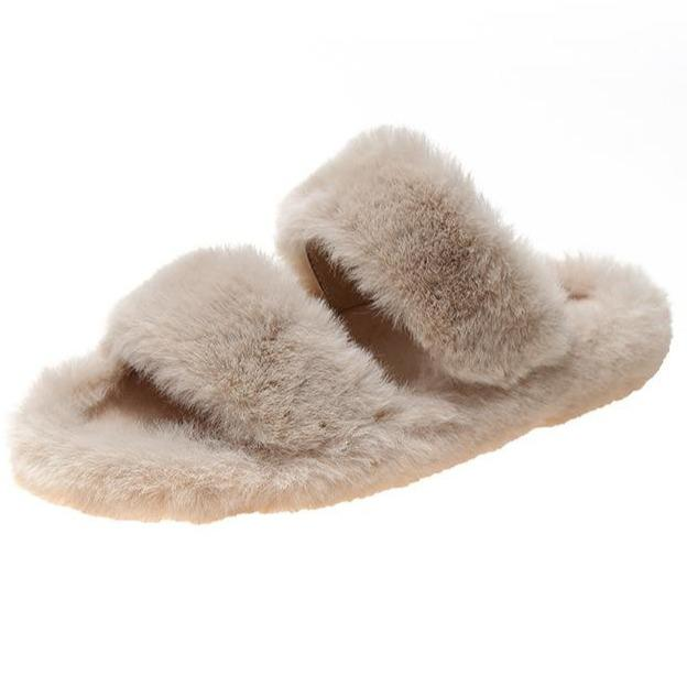 Fashion 2 straps furry slippers for winter fuzzy house shoes anti-slip