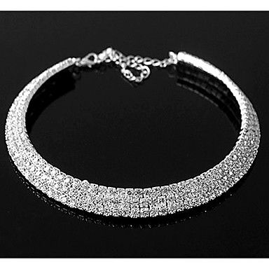 Synthetic Diamond Layered Necklace stardust Statement Ladies Casual Birthstones Diamond Alloy Silver Screen Color Necklace Jewelry For