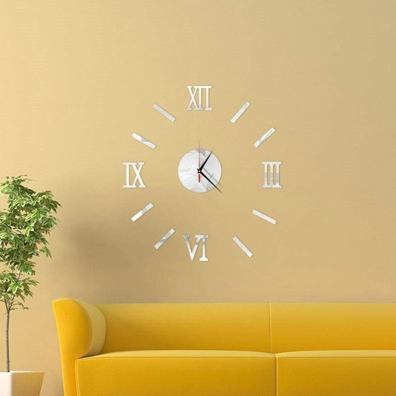 3D Acrylic Digital Wall Clock Roman Numerals Design Round DIY Self Adhesive Living Room Clocks Stickers