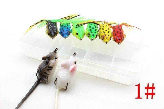 8Pcs 8Colors Topwater Frog And Mouse Hollow Body Soft Fishing Bass Hooks Baits