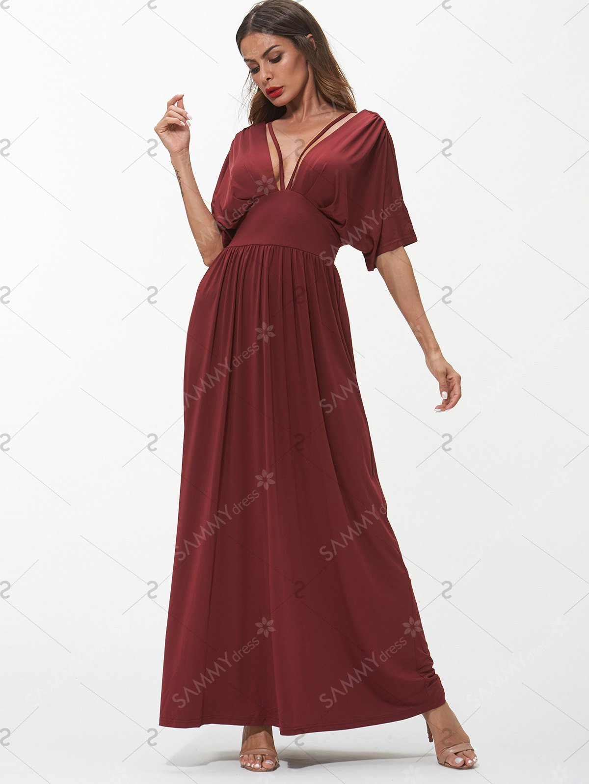 Plunging Neck Strappy Maxi Dress - Red Wine - M