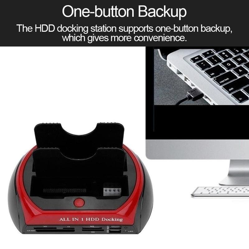Hard drive Docking Station USB 2.0 to 2.5 3.5 Inch  Dual Slots External HDD SSD enclosure with Card reader and USB Hub