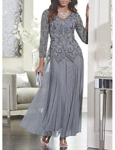 Women's Maxi Slim Swing Dress - Solid Colored Lace V Neck Spring Gray M L XL XXL