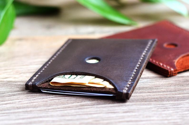 Personalized small leather wallet men Minimalist handmade front pocket wallet Brown leather purse Card wallet Full grain bifold        Update your settings