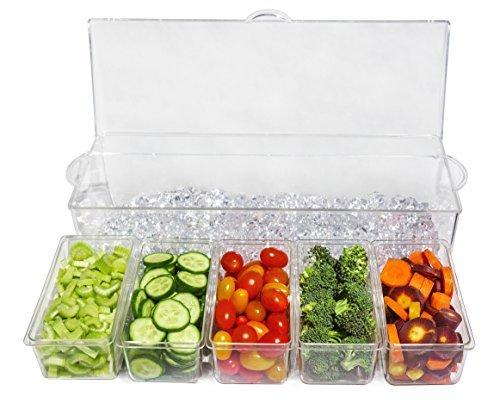 Ice Chilled 5 Compartment Condiment Server Caddy - Serving Tray Container with 5