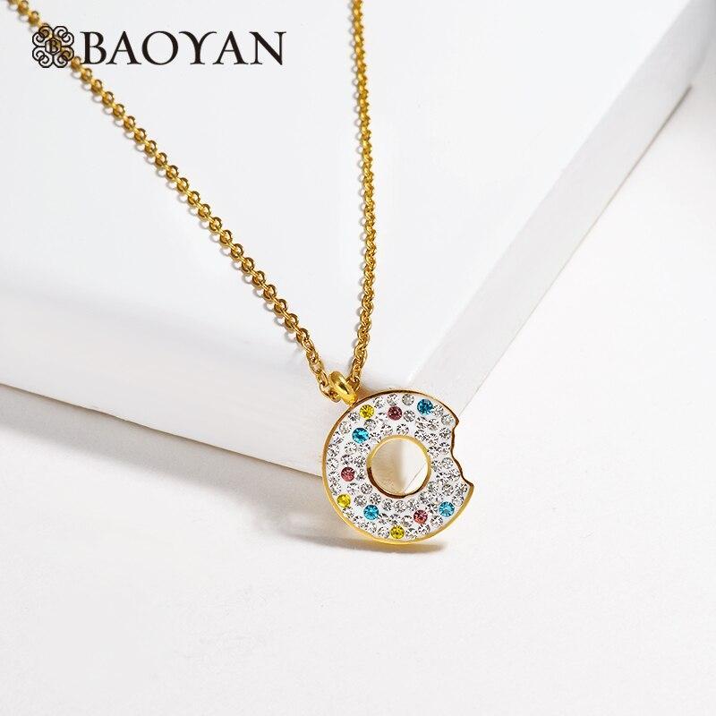 Baoyan Cute Donut Pendant Necklace Vintage Round Rhinestone Necklace Wholesale Solid Gold Plating Stainless Steel Necklace Women