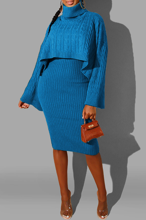 Turtle Neck Long Sleeve Two-piece Set
