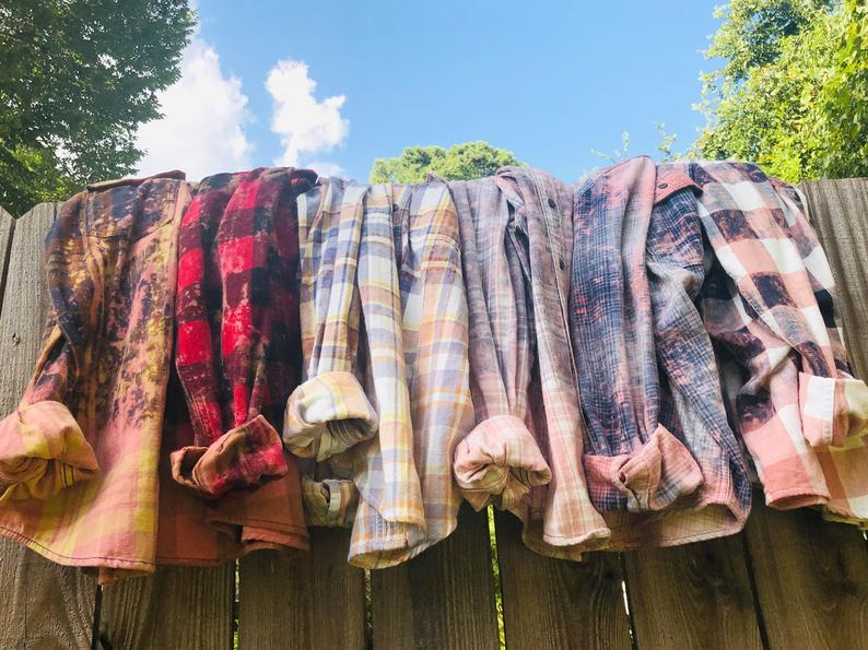 Distressed Bleached Flannel Shirts / Wholesale Orders / Bridesmaids / Girls Trip / Custom Order