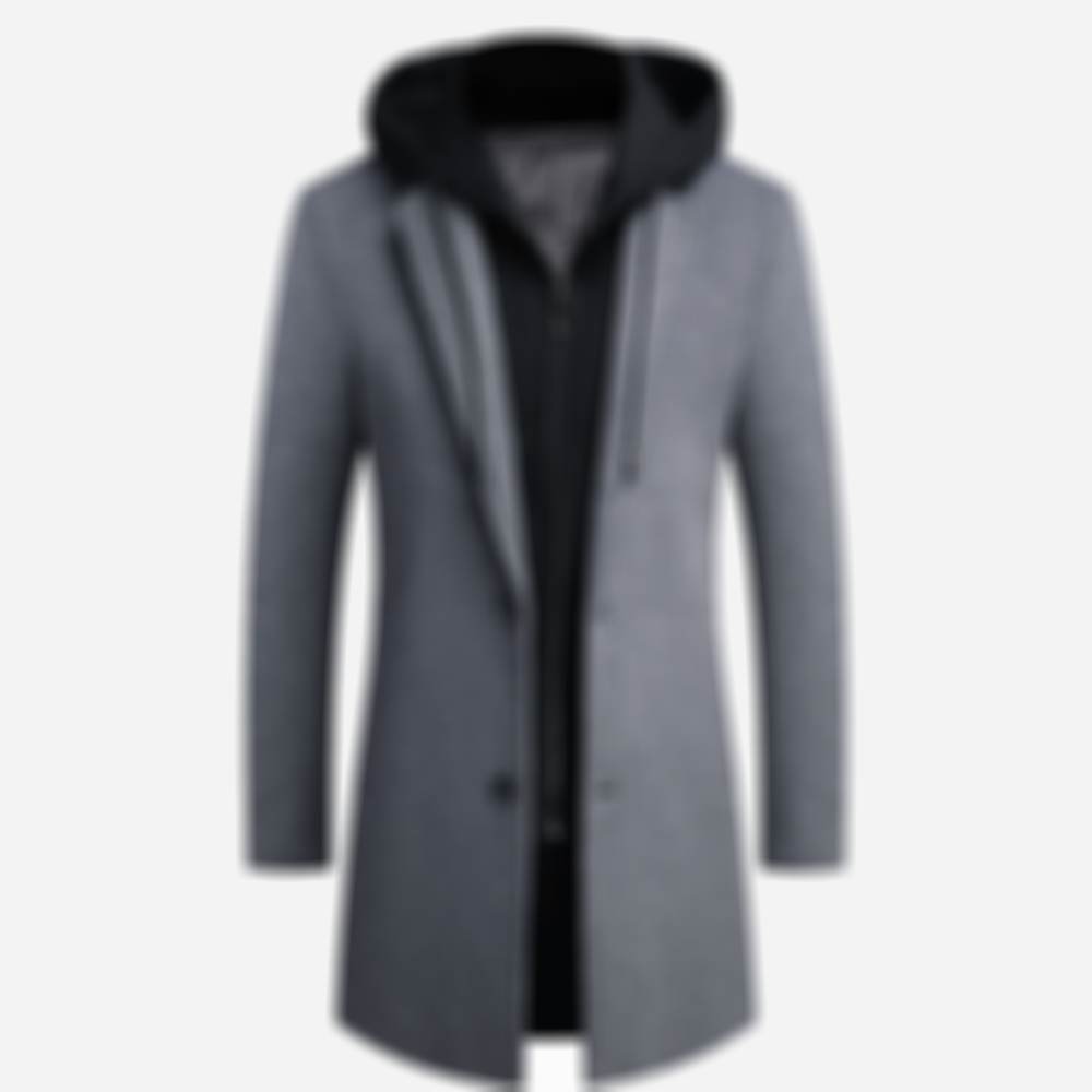 Mens Wool Winter Warm Coats Fake Two-pieces Detachable Hooded Mid-long Outerwears