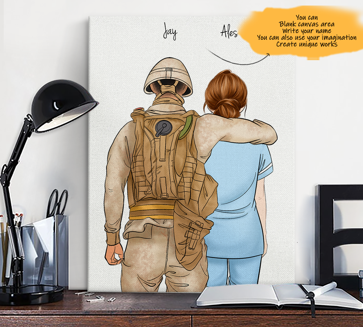 He is My Friend! Hand Draw Custom Canvas-Print Gift Soldier-Tan&Paramedic