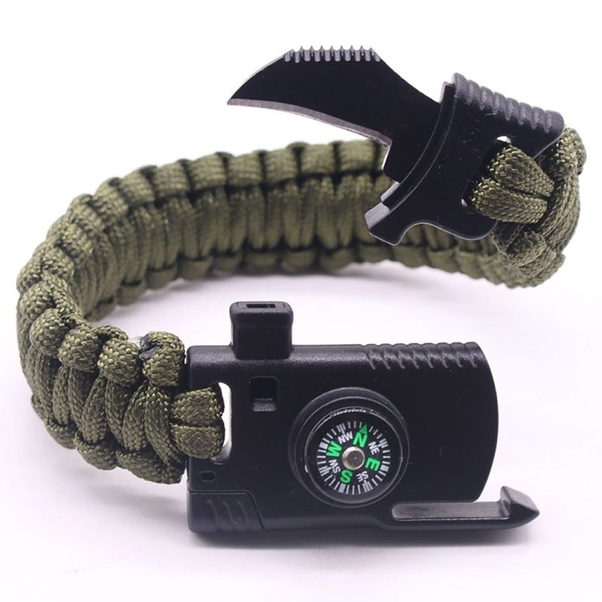 1 PCS Multi-Function Adjustable Outdoor Survival Paracord Bracelet Emergency Equipment Compass&Knife&Rescue Whistle and Flintstone Outdoor Camping Tools