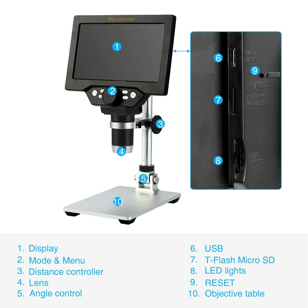 LCD Digital USB Microscope with 16 Different Languages
