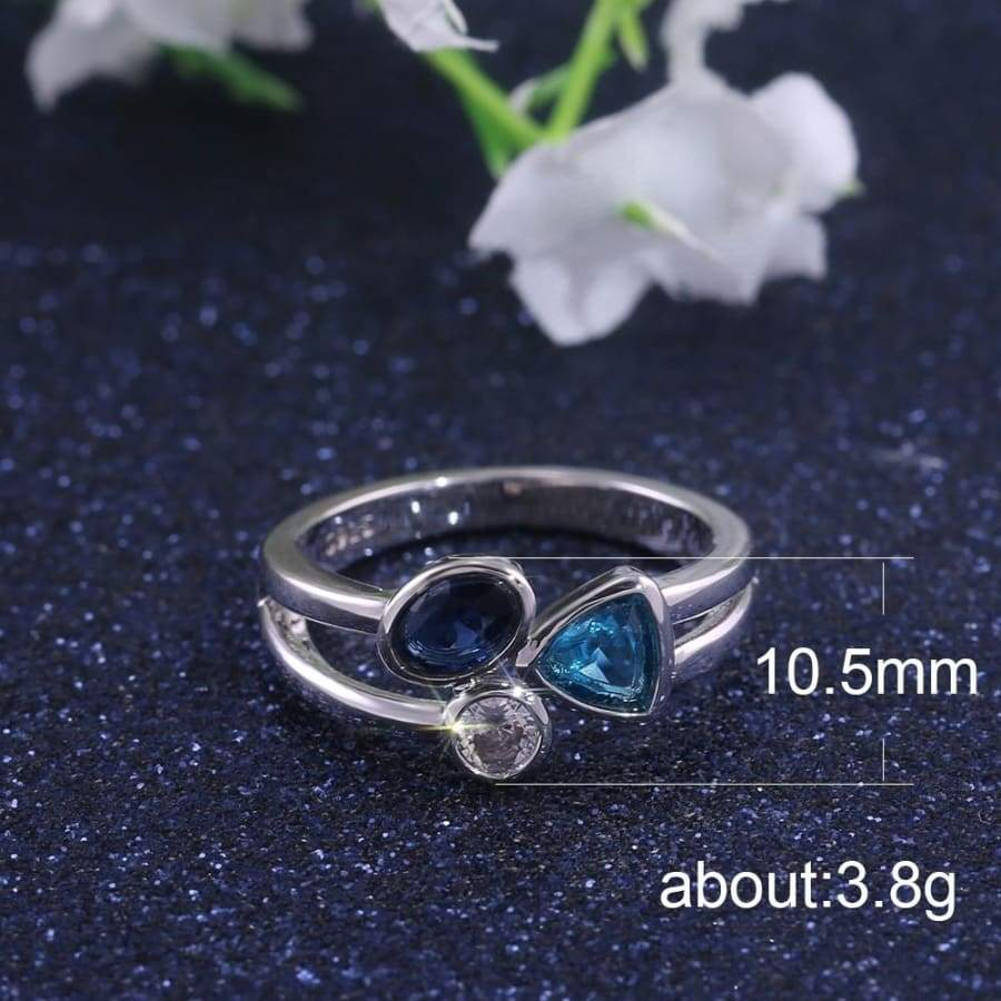 Gorgeous 925 Sterling Silver Ring Wedding Band Charming Moonstone Diamond Jewelry Casual Accessory Christmas Gift Engagement Rings for Women Size 5-10