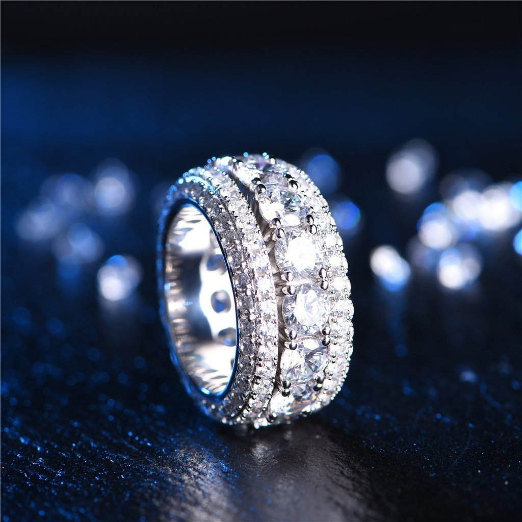 White Gold. 925 Sterling Silver Iced Out Band Rotating Ring