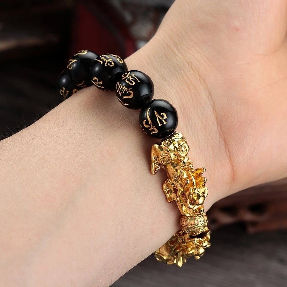 Arosetop Feng Shui Black Obsidian Bracelet for Men / Women