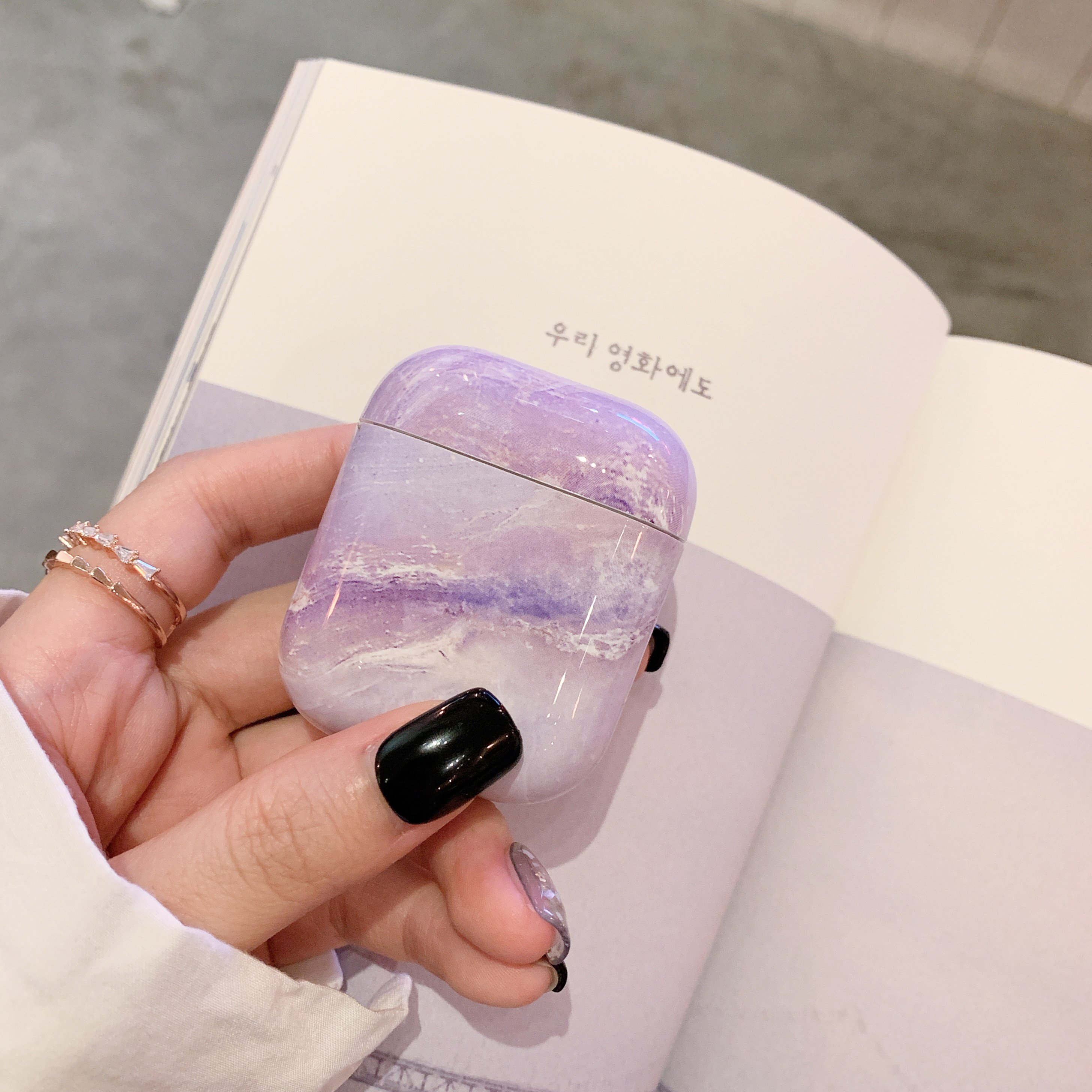 AirPods Case Protective, Marble Design PC [Support Wireless Charging]