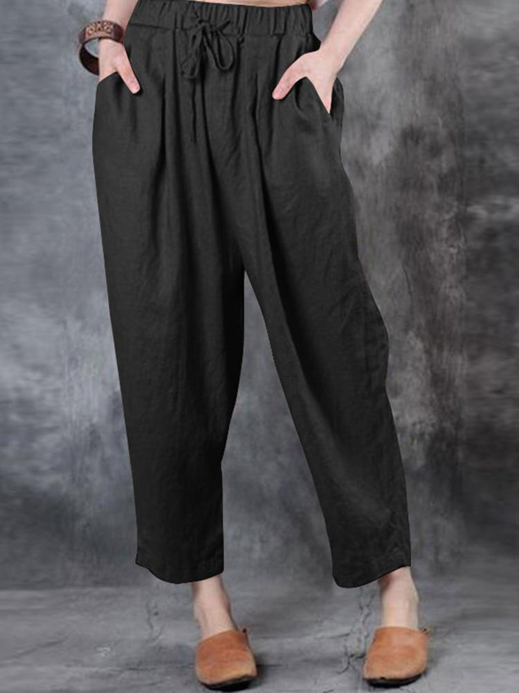 Women Solid Color Loose Casual Pants