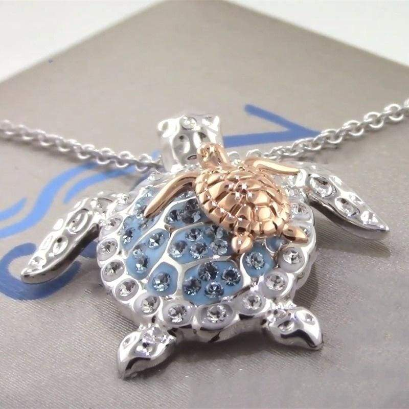 1PC Ocean Jewelry Pretty and Cute Sea Turtle Mother & Baby Pendant Necklace 925 Sterling Silver Necklace for Women Superb Gift for Mother s Day, Baby Showers or Mom s Birthday