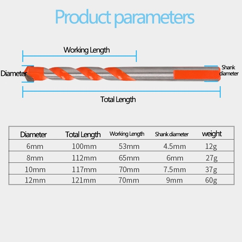 6/8/10/12mm Triangle handle Woodworking Drill Bit Tools Wall Wood Glass Hole Opener