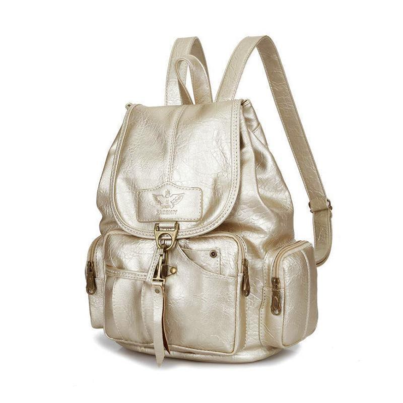 French branded leather backpack