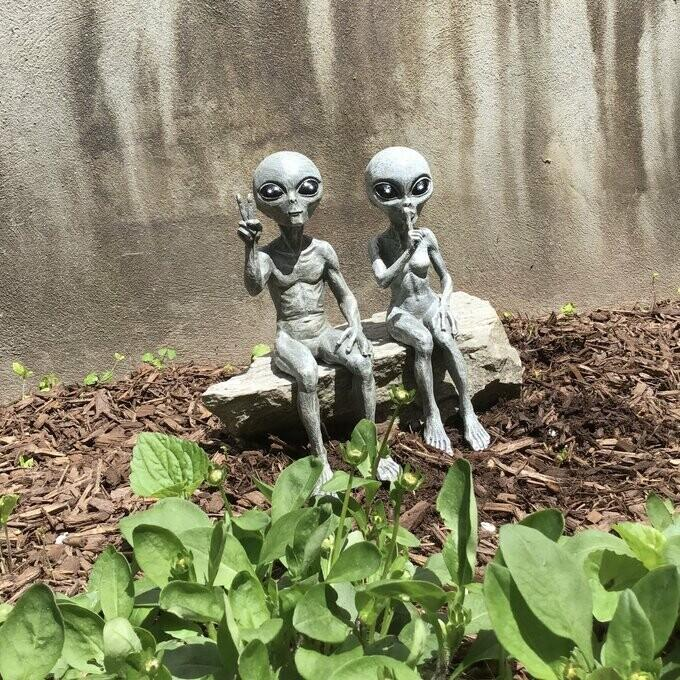Outer Space Alien Garden Statue