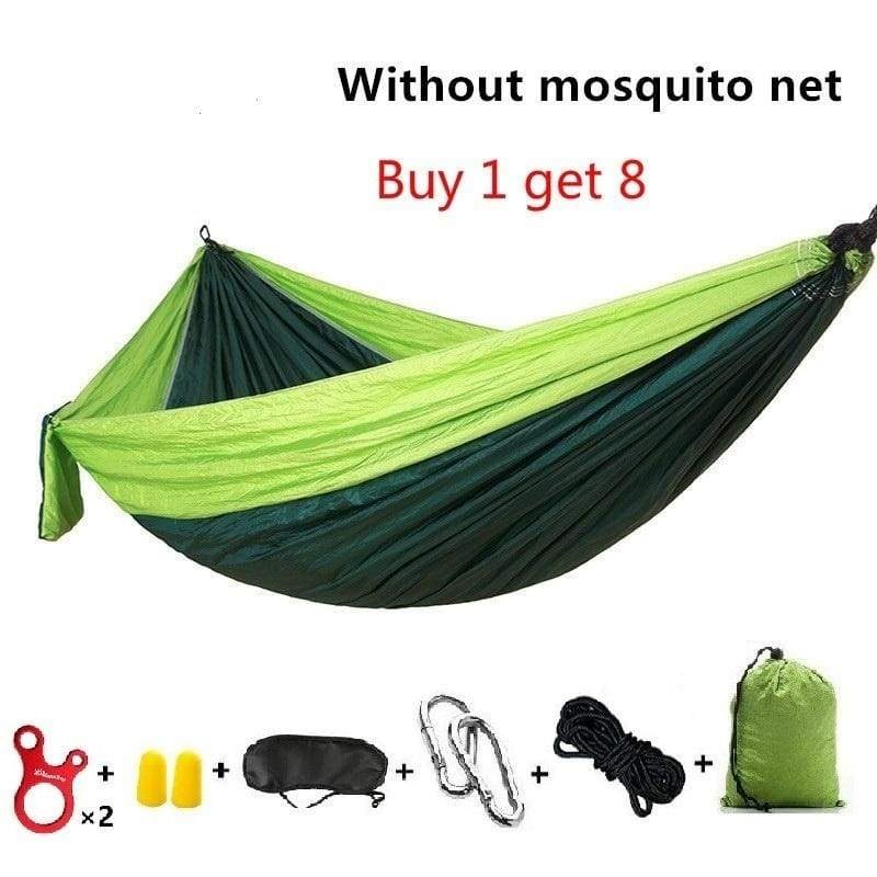 Portable Double Camping Hammock High Strength Parachute Fabric With Mosquito Net Sleeping Hammock