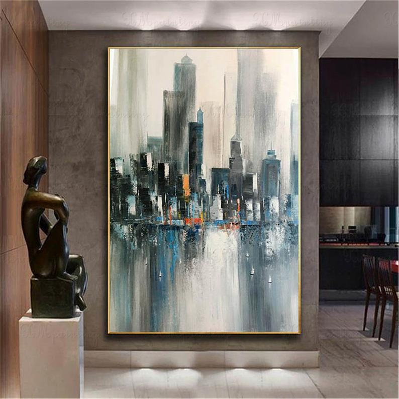 Hong Kong cityscape abstract painting canvas wall art picture for living room bedroom hallway wall decor Texture original acrylic decoration