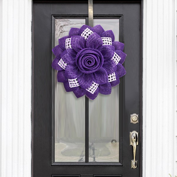 Purple with Lavender Check Sunflower Wreath