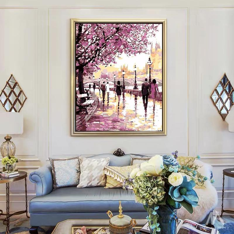 DIY Painting By Numbers -  Cherry Blossoms Road (16