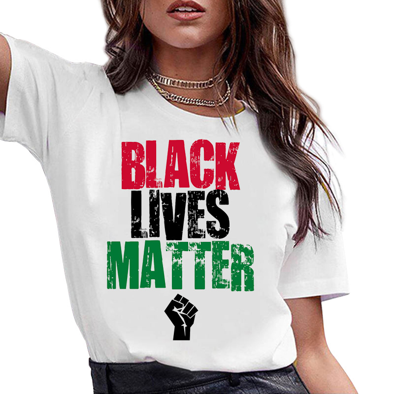 Black Lives Matter T-Shirt Women Fashion White Cotton Shirt