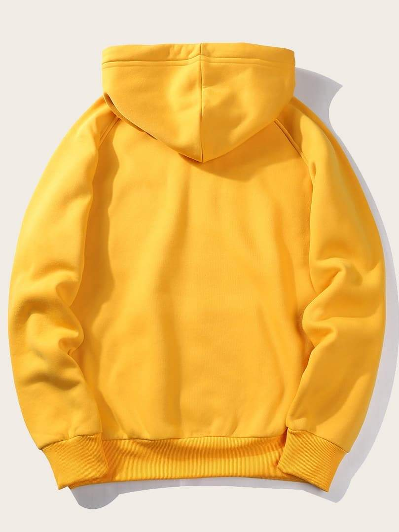 Men Drawstring Detail Solid Hoodie