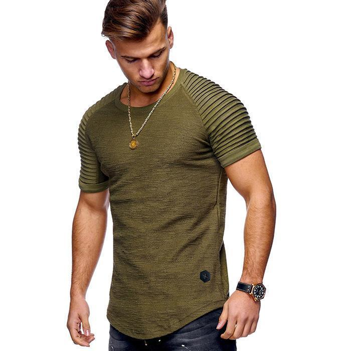 On Sale-Solid Color Stripe Slim Fitness Men's T-shirt