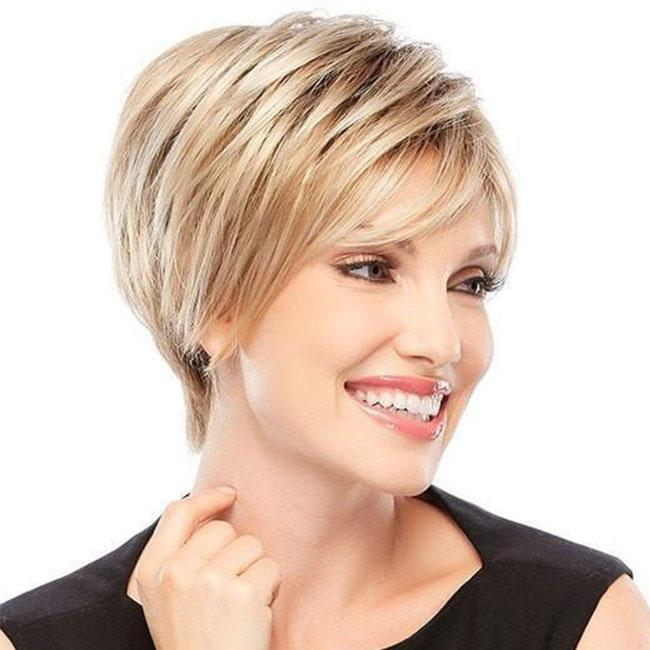 KAMI 024 Synthetic White Women Wigs Natural Sassy Layered Short Straight Wig with Bangs