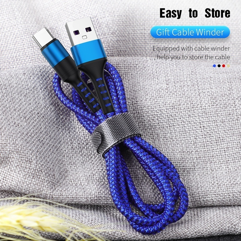 5A USB Type C Fast Charging Cable For Huawei P20 Samsung S9 S10   Braided Micro USB Charger Cord Data Sync Cable For Android/Type-C Phone