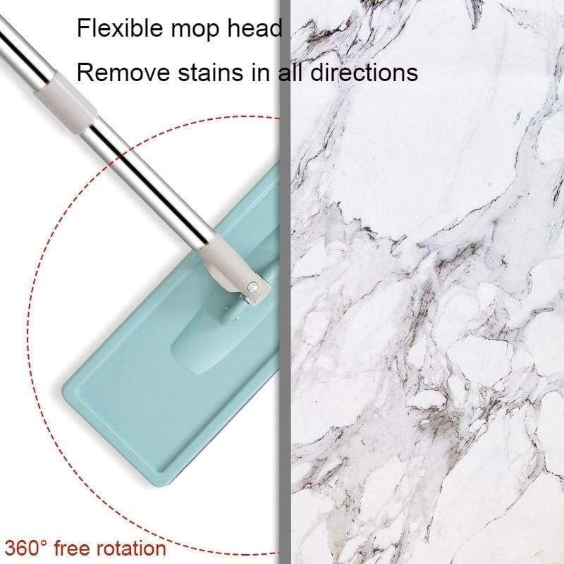 Multifuctional 360¡ã Rotation Spin Flat Mop Bucket Set Auto Rebound Hand-free Floor Cleaning Squeeze Vadrouille(10Pcs Pads/Mop Set)