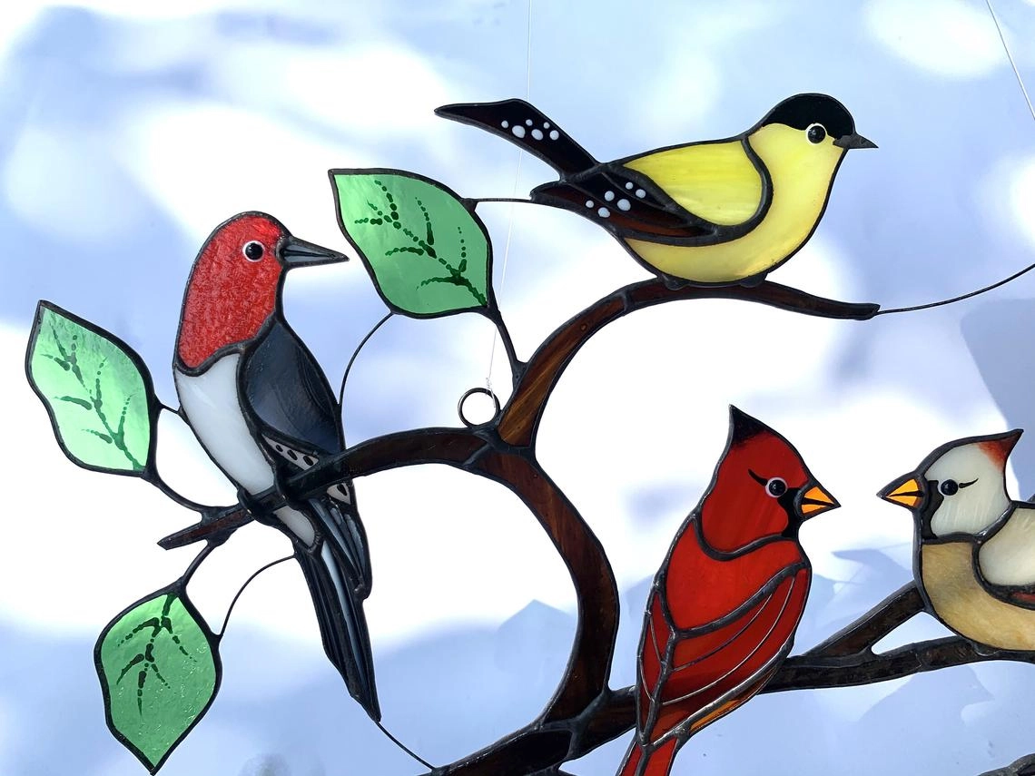Stained Glass Birds Modern Home Decor