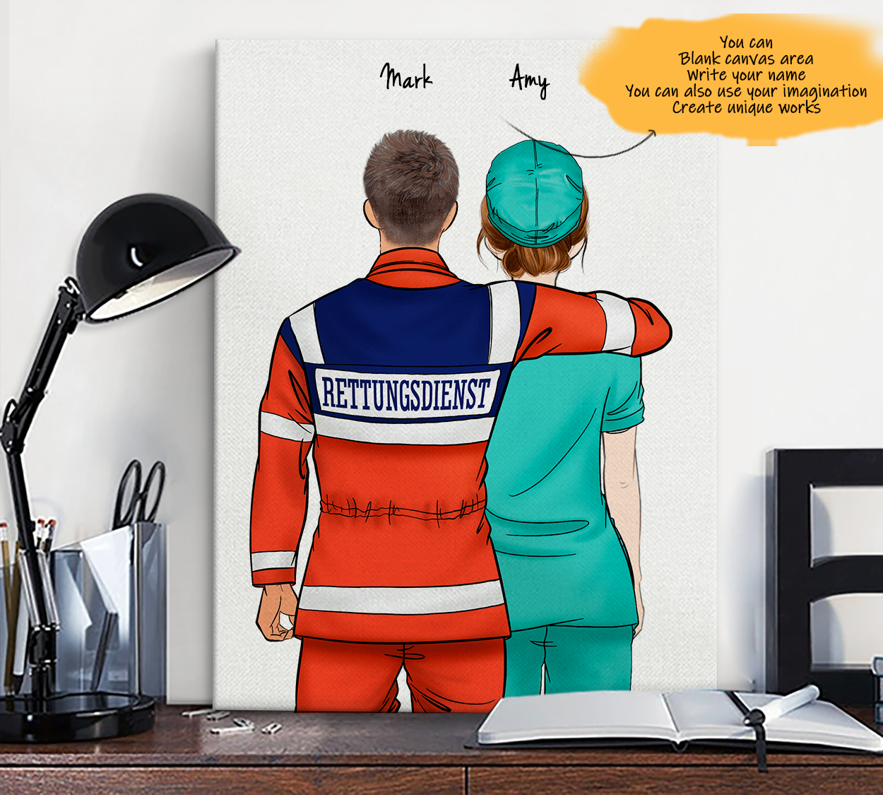 He is My Friend! Hand Draw Custom Canvas-Print Gift AmbulanceDriverGermany-Tan&Nurse2