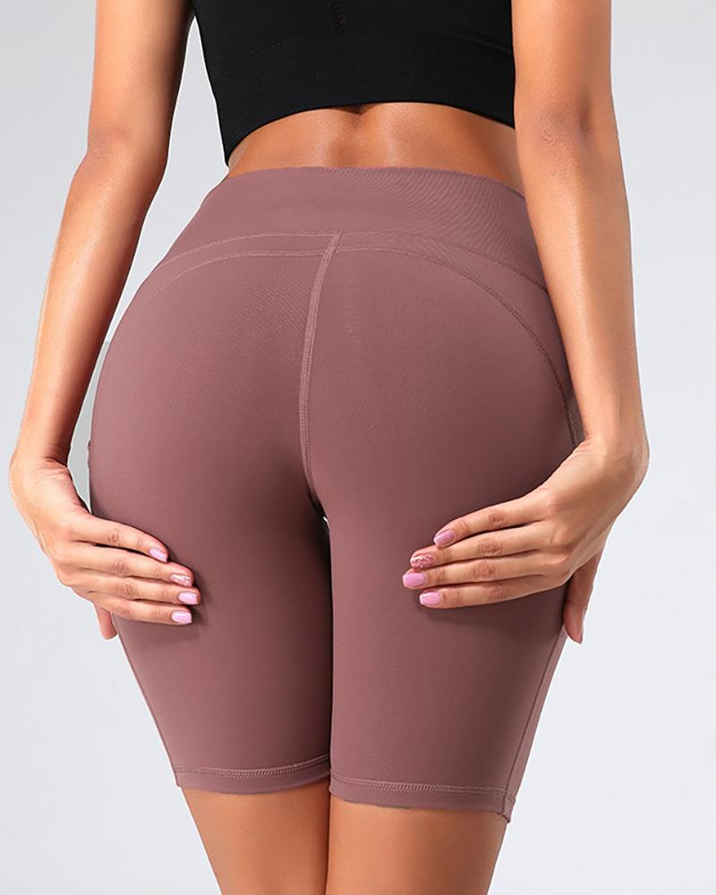 Pocket Design Sporty High-Rise Fitted Yoga Shorts