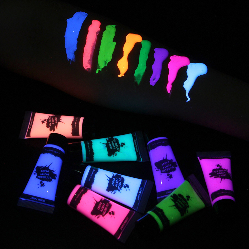 8 Colors Fluorescent Face Body Art Paint UV Glow Oil Painting Halloween Party Fancy Dress Beauty Makeup Tool