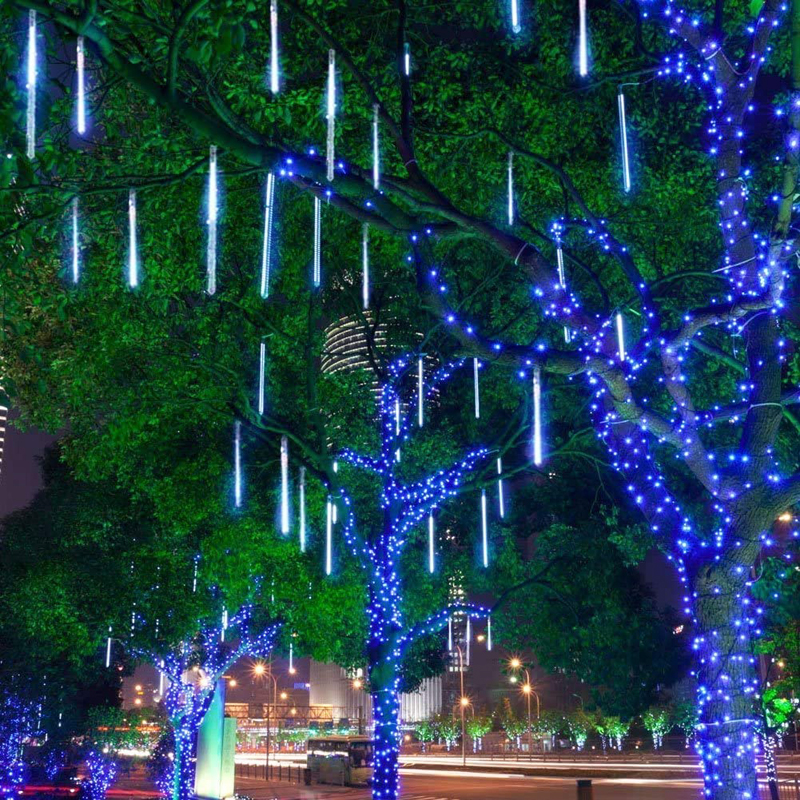 LED Meteor Shower Lights 11.8 inch 8 Tubes Icicle Snow Falling Lights for Christmas
