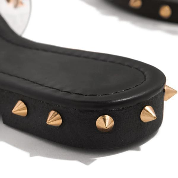 Faddishshoes Multi-Sized Studs Clear Strap Slippers