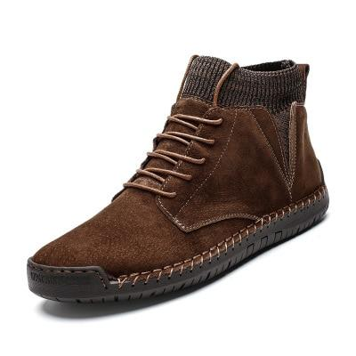 Mens casual ankle boots suede retro lace-up boots fall/winter shoes for men