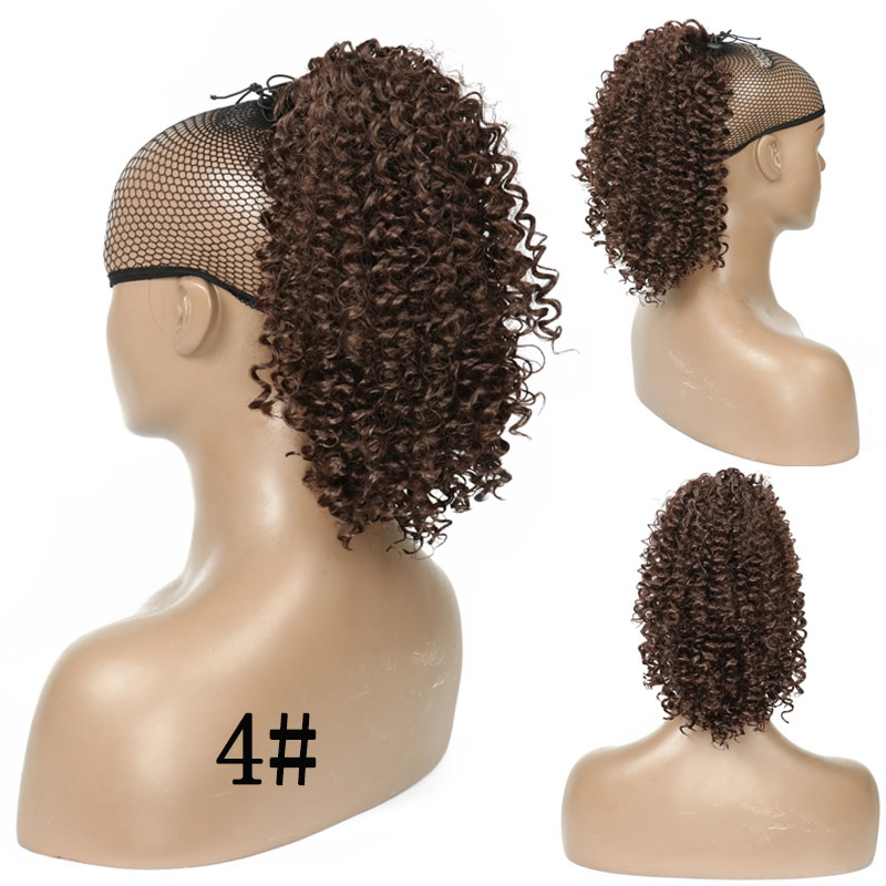 New Type African American Drawstring Puff Afro Kinky Curly Ponytail Short Wrap  clip in Synthetic Ponytail Hair Extensions(6 colors)
