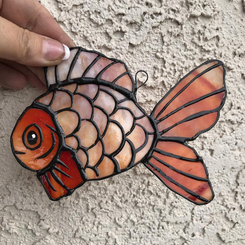 Stained Glass Window Hanging Rooster Suncatcher Stained PYMY Art Garden Decor